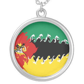 Mozambique Gnarly Flag Round Pendant Necklace