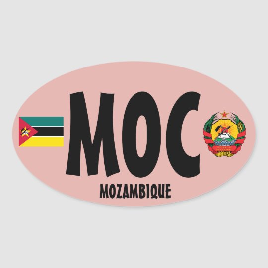 Mozambique (MOC) Euro-style Oval Sticker