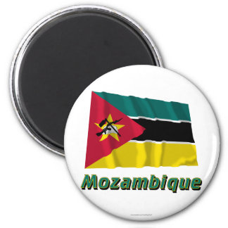 Mozambique Waving Flag with Name 6 Cm Round Magnet