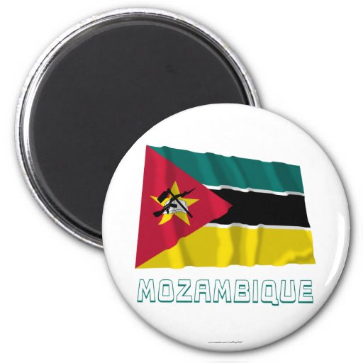 Mozambique Waving Flag with Name Magnets