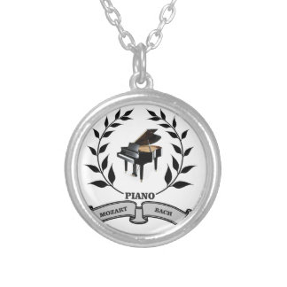 Mozart and Bach piano Round Pendant Necklace