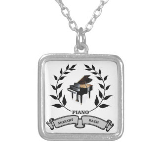 Mozart and Bach piano Square Pendant Necklace