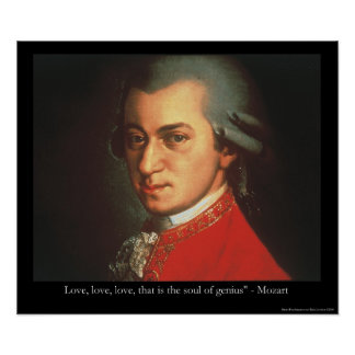 "Mozart ""Love Love Love"" Quote Poster"
