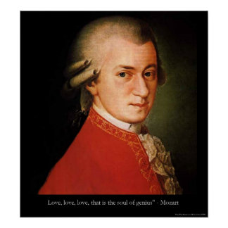 """Mozart """"Love Love Love"""" Quote Poster Print"""