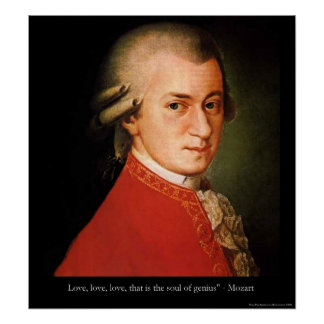 """Mozart """"Love Love Love"""" Quote Print Poster"""