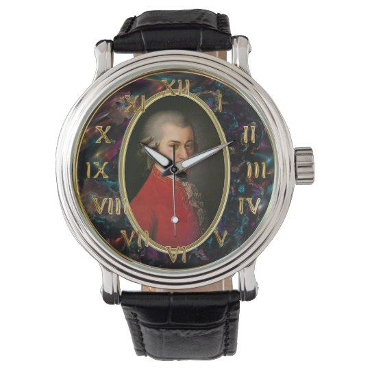 Mozart Men's Vintage Black Leather Strap Watch