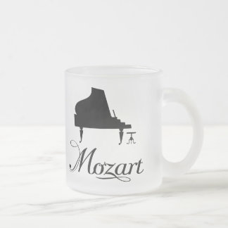 Mozart Piano Gift Frosted Drinkware For Pianist Frosted Glass Coffee Mug