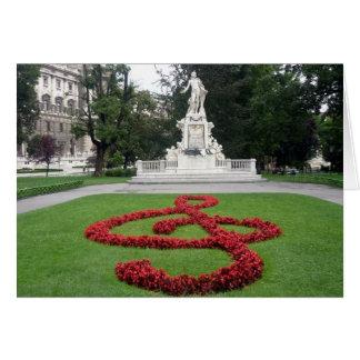 mozart statue vienna greeting card