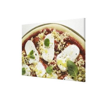 Mozzarella pizza (unbaked) canvas print