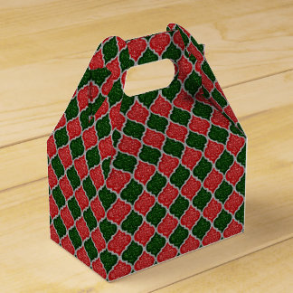 MQF-Sequins-Red-Dark Green-Silver-Gable Favor Box Wedding Favour Box