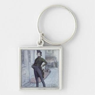 Mr. Alfred Jingle Silver-Colored Square Key Ring