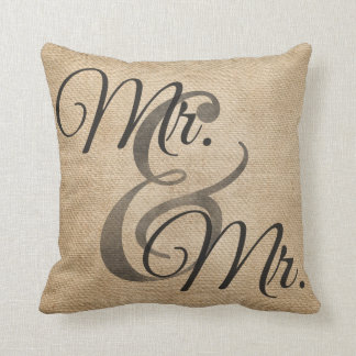Mr and Mr Gay Burlap Wedding Personalized Pillow