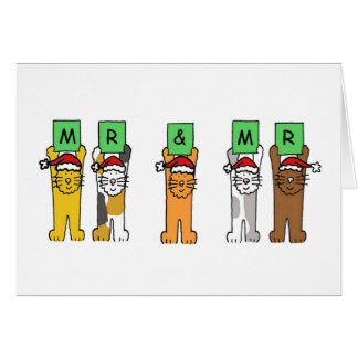 Mr and Mr Gay Christmas cats in Santa hats Card