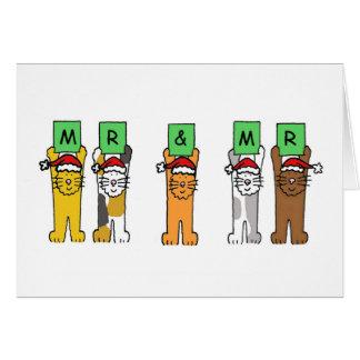 Mr and Mr Gay Christmas cats in Santa hats Greeting Card