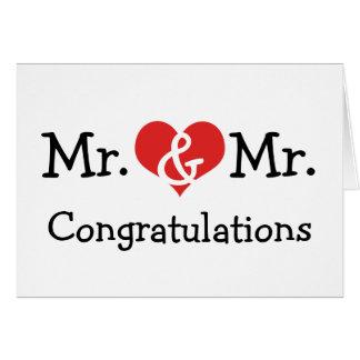 Mr and Mr Love Heart Wedding Congratulations Card