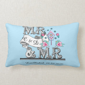 Mr and Mr Personalized Gay Wedding Gift Lumbar Cushion