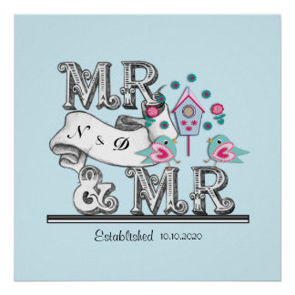 Mr and Mr Personalized Gay Wedding Gift Poster