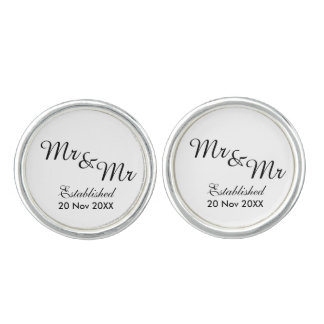 Mr and Mr Same-Sex Gay Wedding Cuff Links