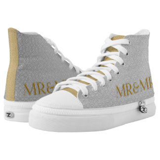 Mr and Mr Silver and Gold Wedding with Initials High Tops