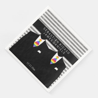Mr and Mr Suit and Rainbow Tie Gay Wedding Disposable Napkin