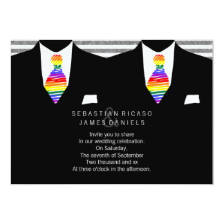 Mr and Mr Suit and Rainbow Tie Gay Wedding 5x7 Paper Invitation Card