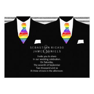 Mr and Mr Suit and Rainbow Tie Gay Wedding Custom Invites