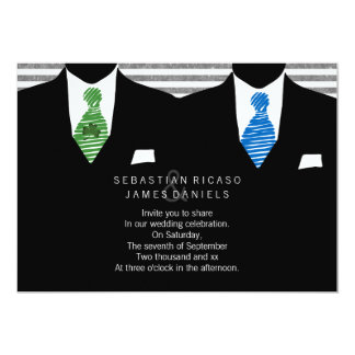 Mr and Mr Suit and Tie Gay Wedding Card