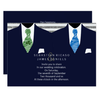 Mr and Mr Suit and Tie Gay Wedding (Navy) Card