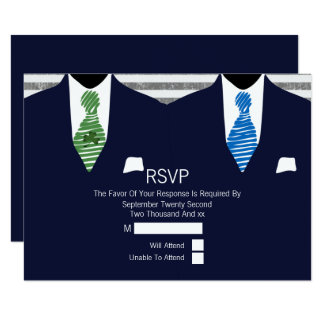 Mr and Mr Suit Green Blue Ties Gay Wedding RSVP V3 Card