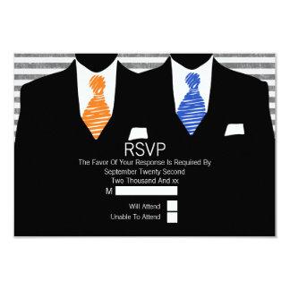 Mr and Mr Suit Orange Blue Ties Gay Wedding RSVP 9 Cm X 13 Cm Invitation Card