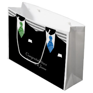 Mr And Mr Suits Blue Green Wedding Personalized Large Gift Bag