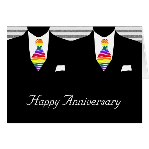 Mr and Mr, Two Grooms Wedding Anniversary Greeting Card