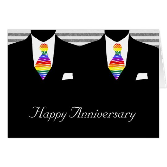 Mr and Mr, Two Grooms Wedding Anniversary Card