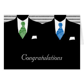 Mr and Mr Two Grooms Wedding Congratulations Greeting Card