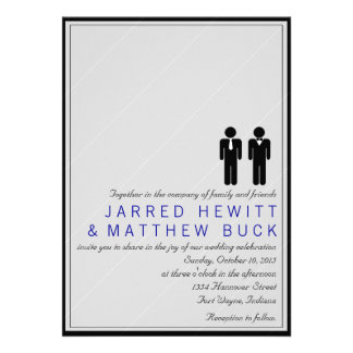 Mr and Mr Two Grooms Wedding Invitation