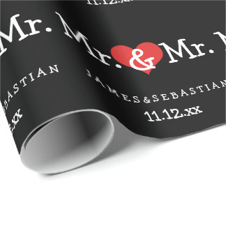 Mr and Mr Two Grooms Wedding Wrapping Paper