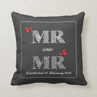 Mr and Mr White Lace  Word Art  Red Butterflies Cushion