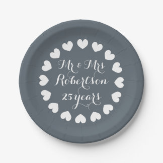 Mr and Mrs 25th wedding anniversary paper plates