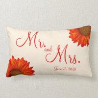 Mr. and Mrs. Beige Fall Wedding Pillows Sunflower