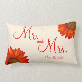 Mr. and Mrs. Beige Fall Wedding Pillows Sunflower