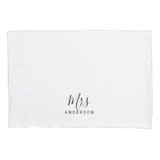 Mr and Mrs | Black and White Modern Script Wedding Pillowcase