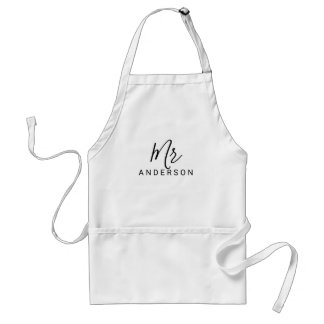 Mr and Mrs | Black and White Modern Script Wedding Standard Apron