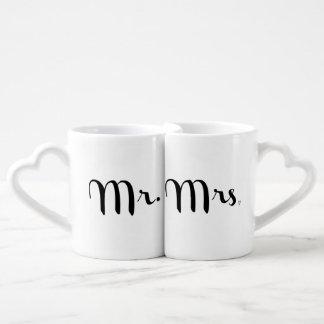 Mr and Mrs Black on White Lovers Mug Set