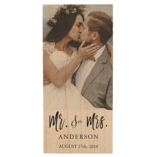Mr. and Mrs. Black Typography Wedding Photos USB Wood USB 2.0 Flash Drive