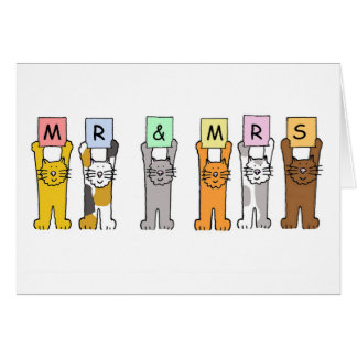Mr and Mrs cats wedding congratulations. Card