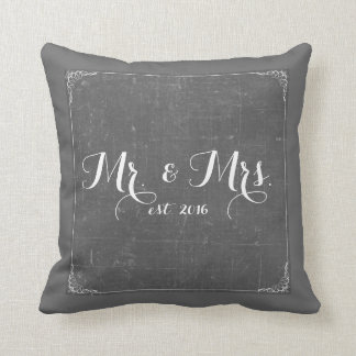Mr. and Mrs. Charcoal Gray Chalkboard Pillow