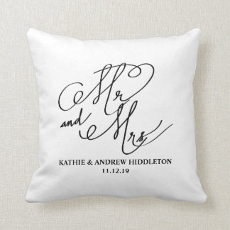 Mr And Mrs Classy Typography Script Wedding Cushion