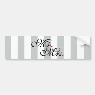 Mr. and Mrs. Click to Customize Color Stripes Bumper Sticker