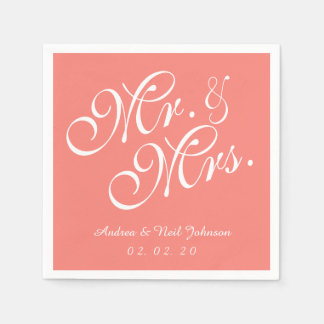 Mr. and Mrs. Coral Pink Wedding Paper Napkins Disposable Napkin