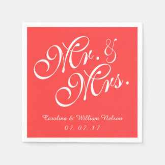 Mr. and Mrs. Coral Red Wedding Paper Napkins Disposable Napkin